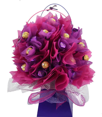 Pink/Purple Ferrero Rocher Chocolate Bouquet - Medium - Sensual Baskets | Romance Baskets With Benefits
