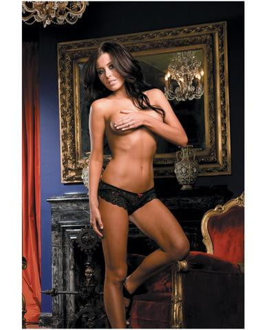 Open for business stretch lace short w/open crotch lace overlap black small-Lingerie