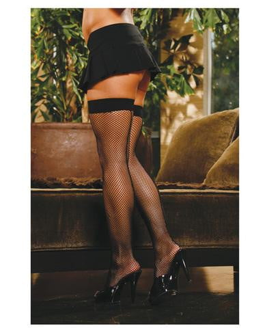 Fishnet thigh high w/back seam black o/s-Lingerie