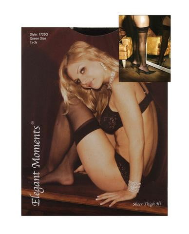 Sheer thigh high black qn-Lingerie