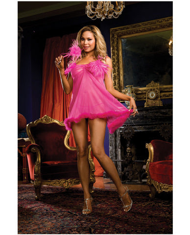 Tickle me pink chiffon babydoll, thong, and feather tickler pink qn-Lingerie