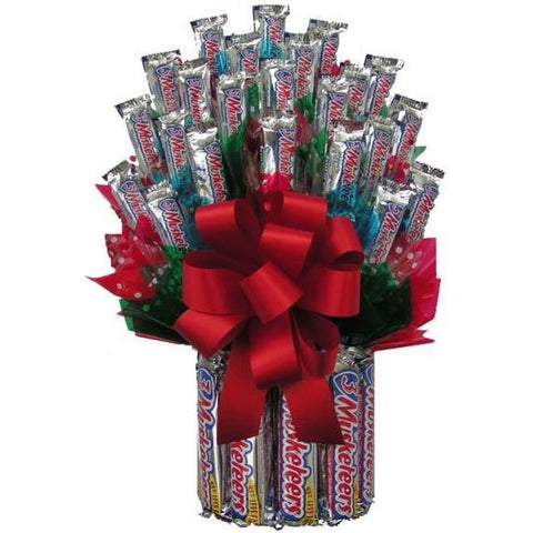 All Three Musketeers Candy Bouquet - Sensual Baskets | Romance Baskets With Benefits