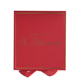 Will You Be My Jr. Bridesmaid? Proposal Box Red - Rose Gold Font w/ Bow-Gift Box