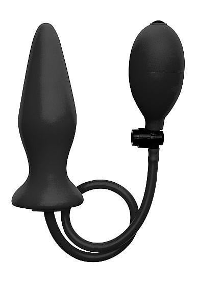Ouch Inflatable Silicone Plug Black-Shots Toys-Butt Plugs