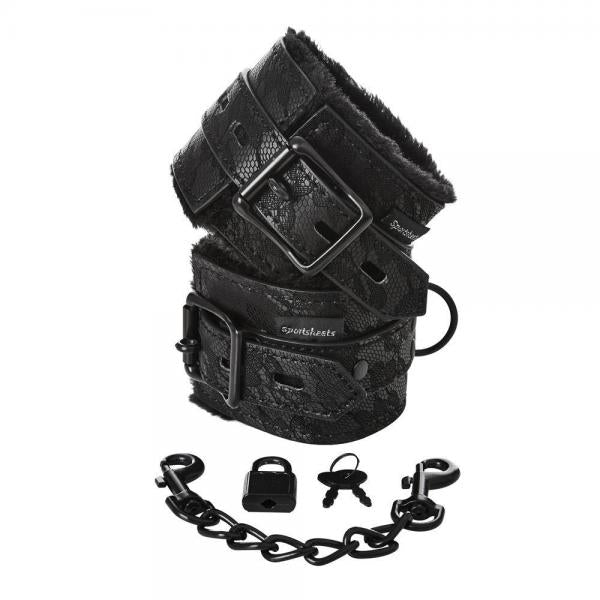 Sincerely Lace Fur Lined Handcuffs Black-Sportsheets-Cuffs