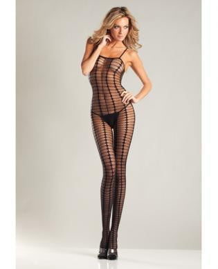 Sheer Crochet Spaghetti Strap Bodystocking Black O/S-Lingerie
