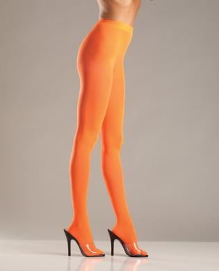 Opaque Nylon Pantyhose Orange O/S-Lingerie