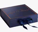 Will You Be My Maid Of Honor? Proposal Box Navy Blue - Rose Gold Font w/ Navy Blue Bow