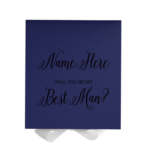 Personalized Will You Be My Best Man Box? Proposal Box Navy Blue w/ Bow navy - No Border-Sensual Baskets | Romance Baskets With Benefits