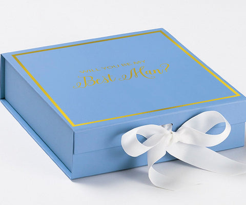 Will You Be My Best Man? Proposal Box Light Blue - Gold Font w/ White Bow-Gift Box