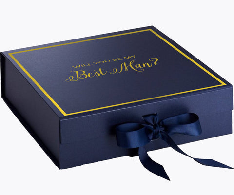 Will You Be My Best Man? Proposal Box Navy Blue - Gold Font w/ Navy Blue Bow clone 1-Gift Box