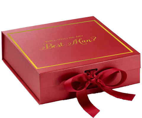 Will You Be My Best Man? Proposal Box Red - Gold Font w/ Bow-Gift Box