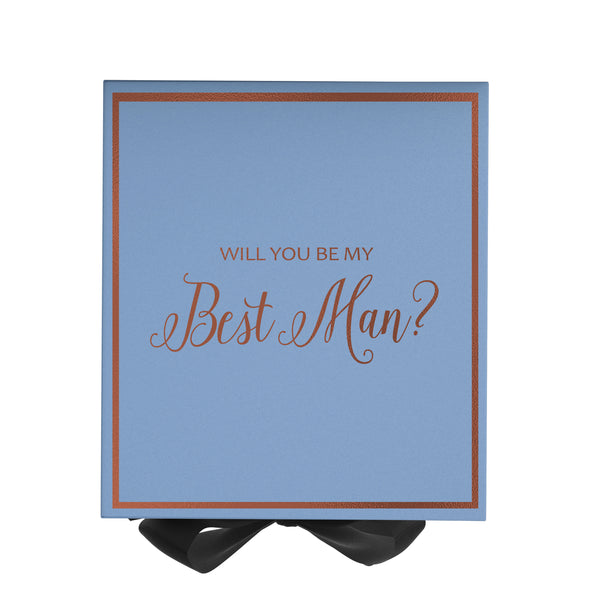 Will You Be My Best Man? Proposal Box Light Blue - Rose Gold Font w/ Black Bow-Gift Box