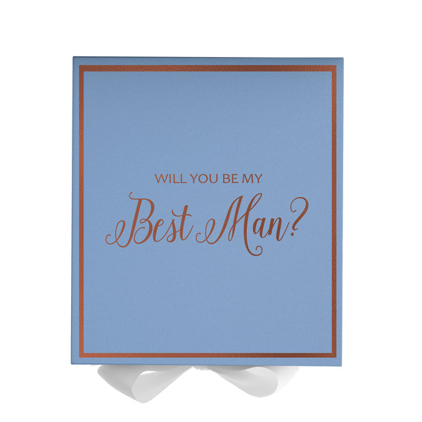 Will You Be My Best Man? Proposal Box Light Blue - Rose Gold Font w/ White Bow-Gift Box