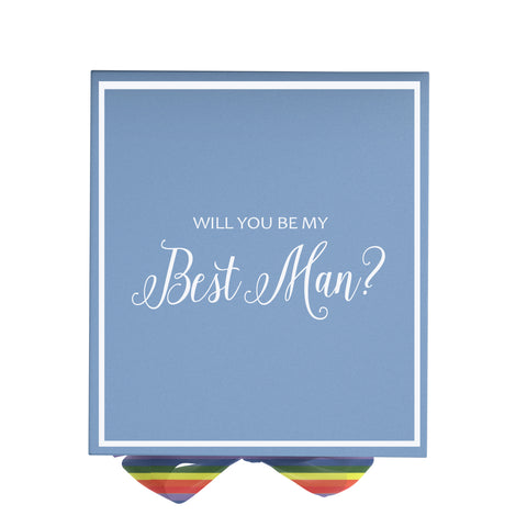Will You Be My Best Man? Proposal Box Light Blue - White Font w/ Rainbow Ribbon | LGBT Ribbon-Sensual Baskets | Romance Baskets With Benefits
