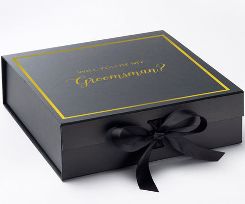 Will You Be My Groomsman? Proposal Box Black - Gold Font w/ Bow-Gift Box