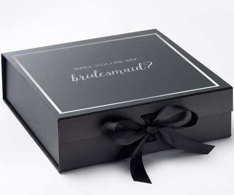 Will You Be My Bridesmaid? Box Black - Silver Font w/ Bow