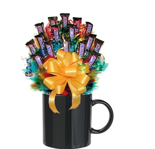 All Snickers Candy Bouquet Mug small-Black-Candy Mug Bouquet