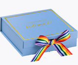 Will You Be My Bridesmaid? Proposal Box Light Blue - Gold Font w/ Rainbow Bow | LGBT Ribbon-Sensual Baskets | Romance Baskets With Benefits