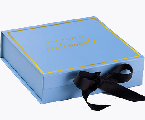 Will You Be My Bridesmaid? Proposal Box Light Blue- Gold Font w/ Black Bow-Gift Box