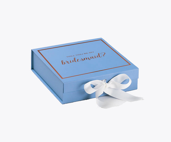 Will You Be My Bridesmaid? Proposal Box Light Blue - Rose Gold Font w/ White Bow-Gift Box