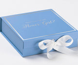 Will You Be My Flower Girl? Proposal Box Light Blue - Silver Font w/ White Bow-Gift Box