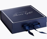 Will You Be My Flower Girl? Proposal Box Navy Blue - Silver Font w/ Navy Blue Bow clone 1-Gift Box