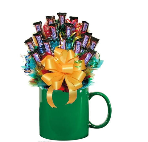ALL SNICKERS CANDY BOUQUET MUG-Green-candy mug bouquet