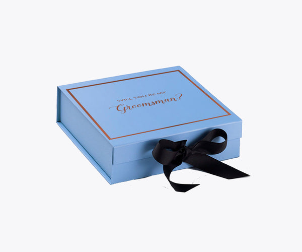 Will You Be My Groomsman? Proposal Box Light Blue - Rose Gold Font w/ Black Bow-Gift Box