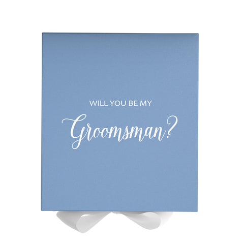 Groomsmen White Blue Box With White Bow In Front Facing Up