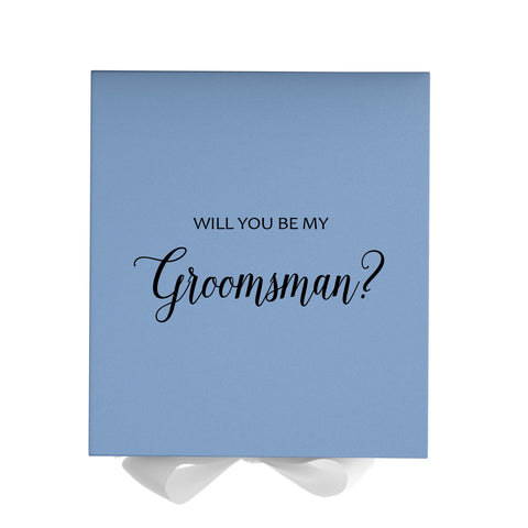 Will You Be My Groomsman? Proposal Box Light Blue - Black Font w/ White Bow - No Border-Sensual Baskets | Romance Baskets With Benefits