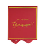 Will You Be My Groomsman? Proposal Box Red - Gold Font w/ Bow-Gift Box