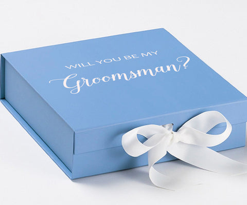 Groomsman White Blue Box With White Bow In Front Large