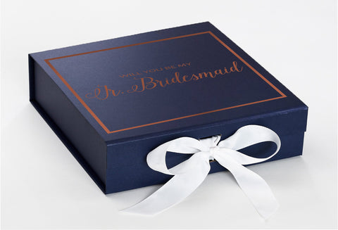 Jr Bride Rosegold Navy Blue Box With White Bow In Crop Front Copy