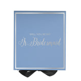 Will You Be My Jr. Bridesmaid? Proposal Box Light Blue - Silver Font w/ Black Bow-Gift Box