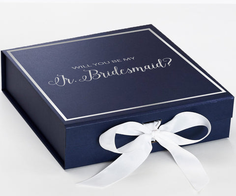 Jr Bride Silver Navy Blue Box With White Bow In Front Large Copy