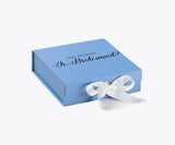 Will You Be My Jr. Bridesmaid? Proposal Box Light Blue - Black Font w/ White Bow - No Border-Sensual Baskets | Romance Baskets With Benefits