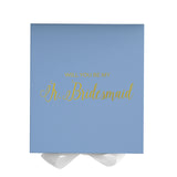 Will You Be My Jr. Bridesmaid? Proposal Box Light Blue - Gold Font w/ White Bow - No Border-Sensual Baskets | Romance Baskets With Benefits
