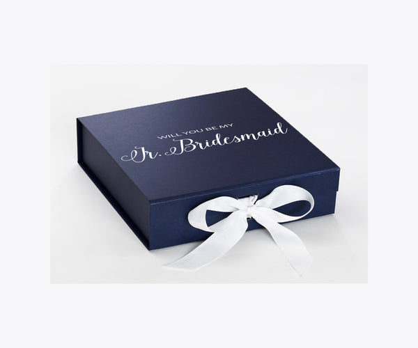 Will You Be My Jr. Bridesmaid? Proposal Box Navy Blue - White Font w/ White Bow - No Border-Sensual Baskets | Romance Baskets With Benefits