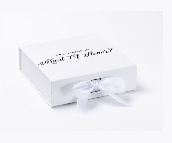 Will You Be My Maid Of Honor? Proposal Box White - Black Font w/ Bow - No Border-Sensual Baskets | Romance Baskets With Benefits