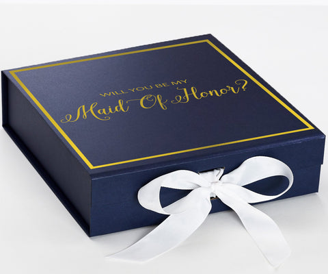 Maid Of Honor Gold Navy Blue Box With White Bow In Front Large Copy