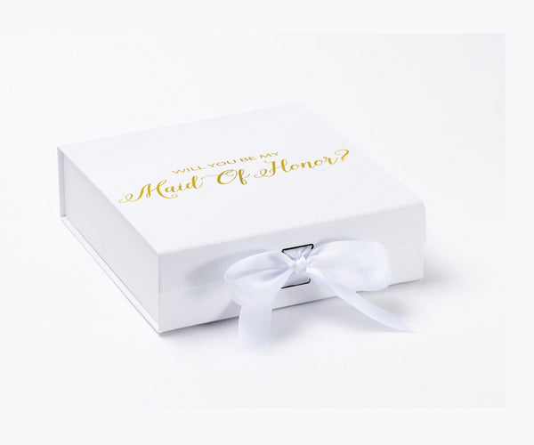 Will You Be My Maid Of Honor? Proposal Box White - Gold Font w/ Bow - No Border-Sensual Baskets | Romance Baskets With Benefits