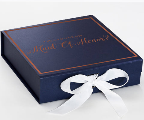 Maid Of Honor Rosegold Navy Blue Box With White Bow In Front Large Copy