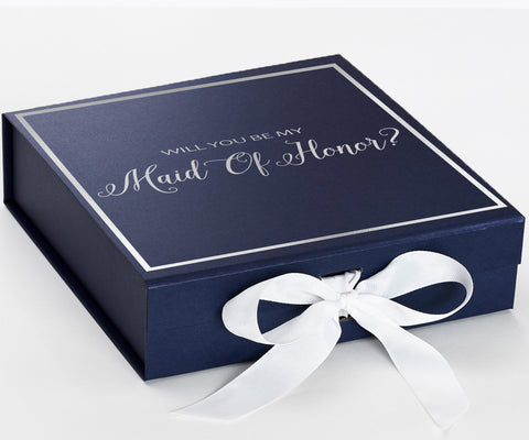 Maid Of Honor Silver Navy Blue Box With White Bow In Front Large Copy