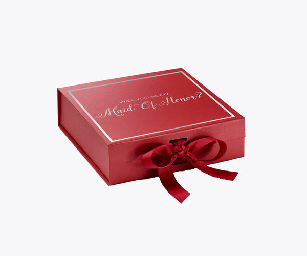 Will You Be My Maid Of Honor? Proposal Box Red - Rose Gold Font w/ Bow-Gift Box