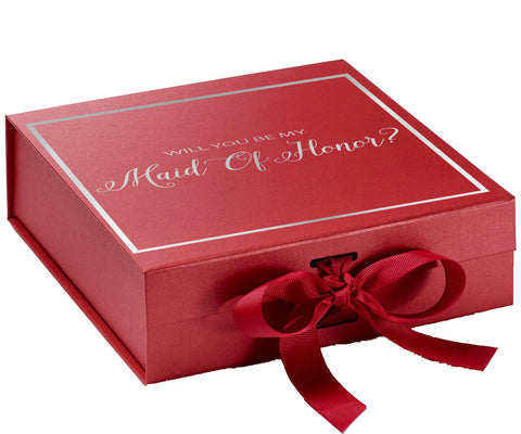 Will You Be My Maid Of Honor? Proposal Box Red - Silver Font w/ Bow