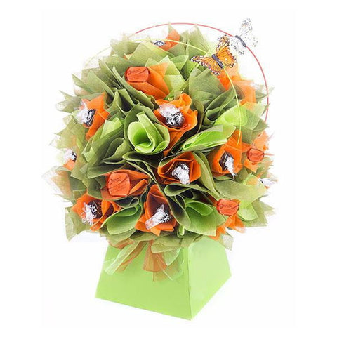 Orange and Green Lindt Dark Chocolate Bouquet-Chocolate Bouquet