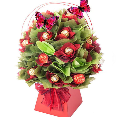 Red & Green Rocher Chocolate Bouquet-Chocolate Bouquet