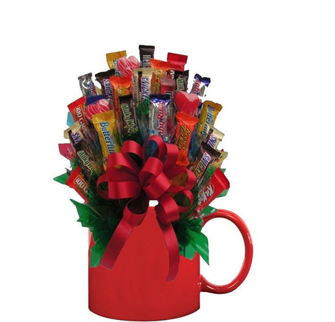 MIXED CHOCOLATE CANDY BOUQUET MUG - Sensual Baskets | Romance Baskets With Benefits