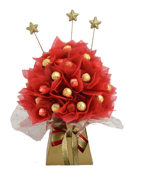 Red/Gold Ferrero Rocher & Dove Chocolate Bouquet - Medium - Sensual Baskets | Romance Baskets With Benefits